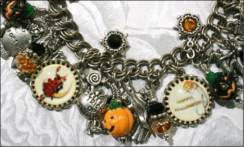 All Hallow's Eve, Halloween, Vintage Inspired Charm Bracelet