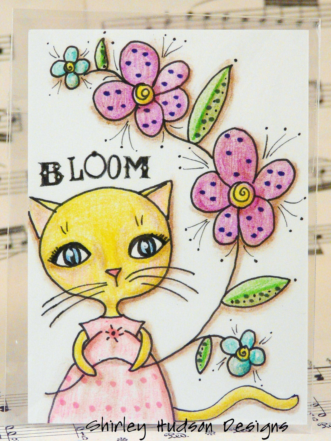 Blooming posies Tabby cat Original ATC card - ACEO watercolor ink painting