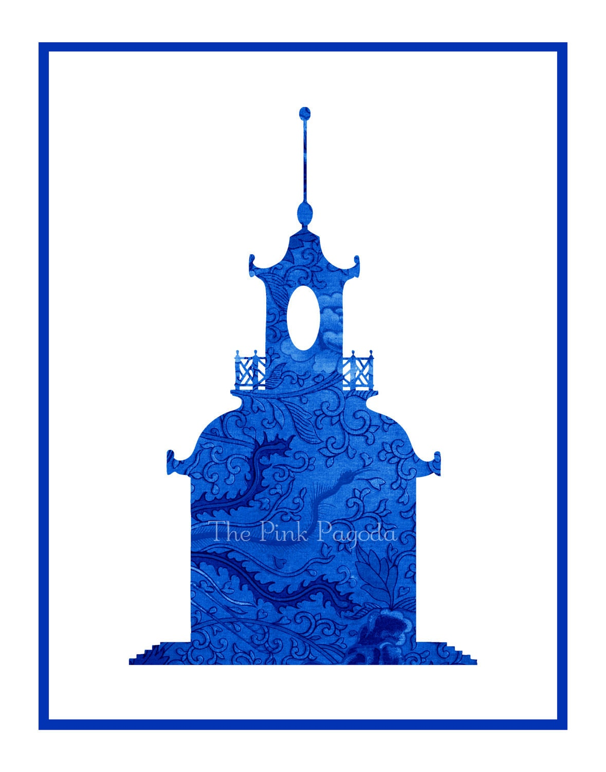 Blue Chinese Floral Pagoda Silhouette Giclee 11x14 - thepinkpagoda