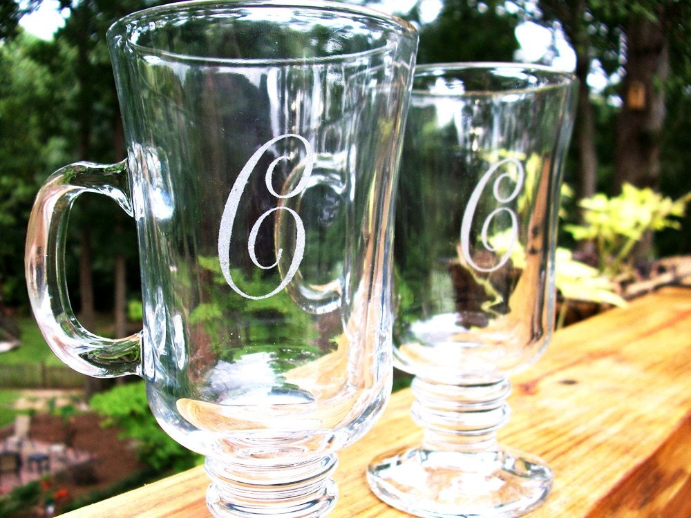 Personalized Initial - Irish Coffee Glass set - Great Wedding Gift