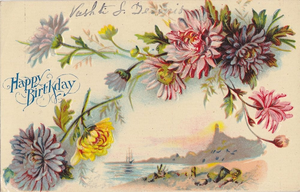 Vintage Birthday Post Card Early 1900s bd069