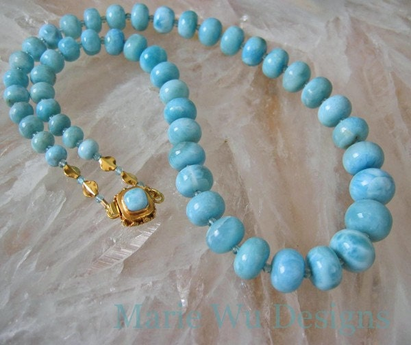 AAA Rare Larimar-Apatite-Solid 22k 18k Gold Necklace with Larimar Clasp