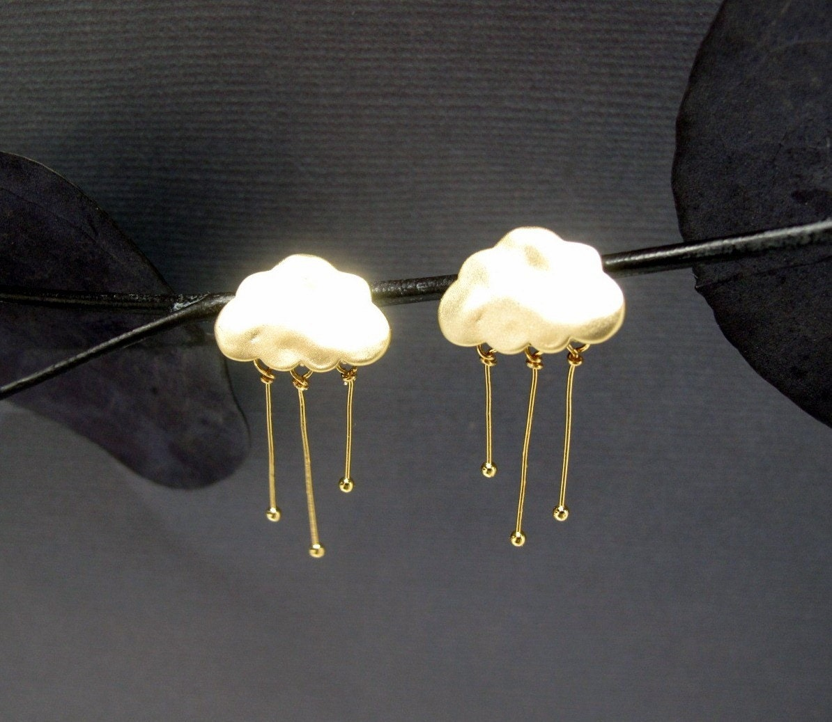 Matte gold Rainy Cloud post earrings