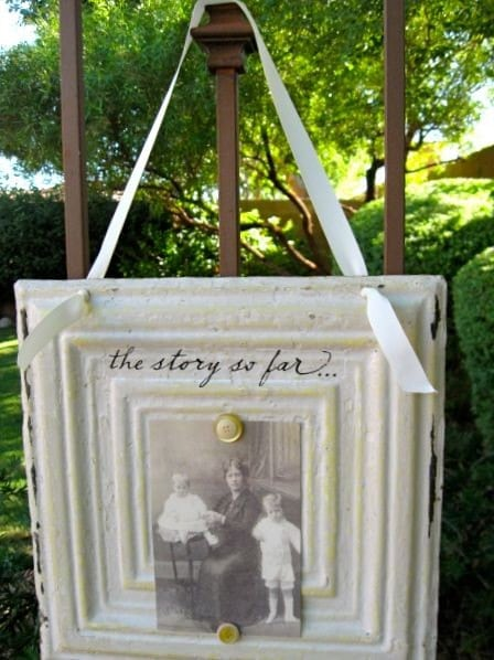 THE STORY SO FAR Magnetic Inspiration Memo Board made with Antique Ceiling Tin