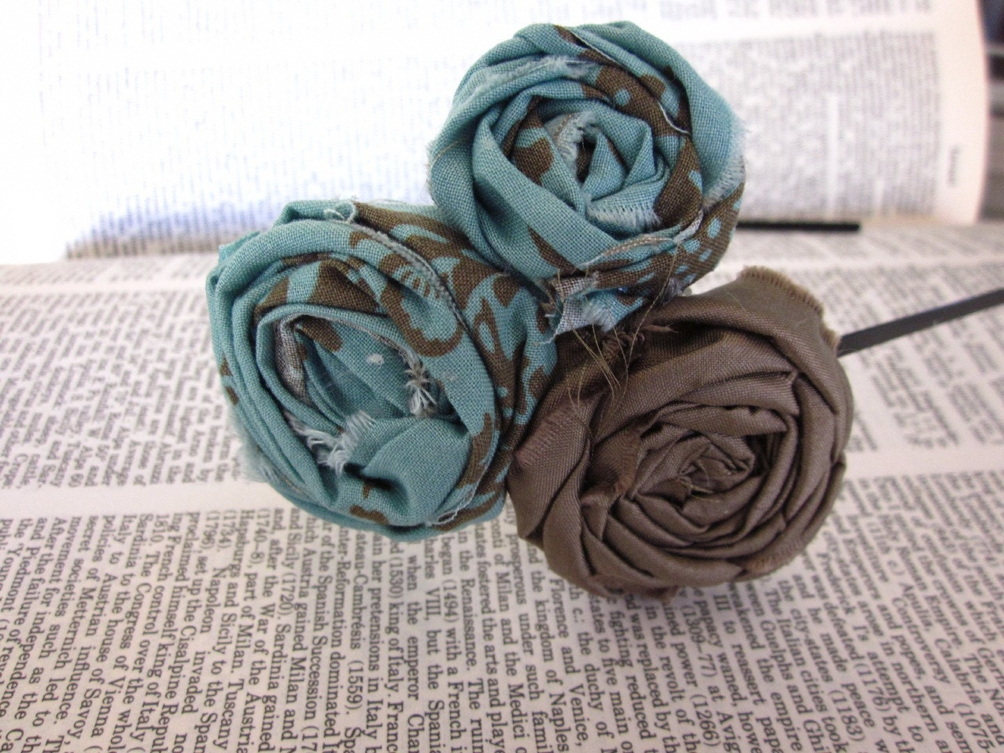 Fabric Rosette Headband - mint and taupe