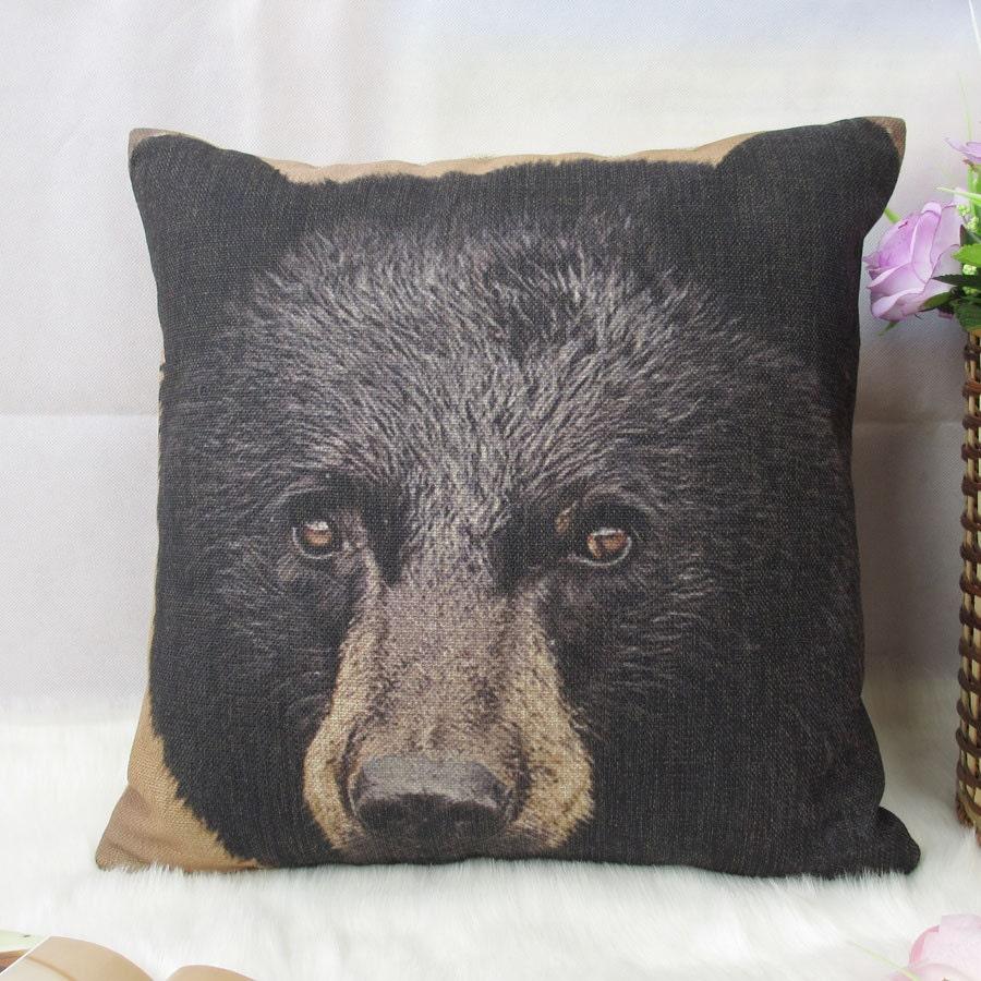 1 cotton linen simple forest mountain black bear head Pillow Cover / Cushion case 18x18 sofa decor - xinghuajiang