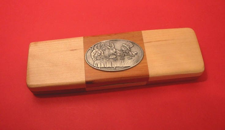 Mad Hatters Tea Party Wooden Pen Box with Pens Alice in Wonderland Christmas Gift