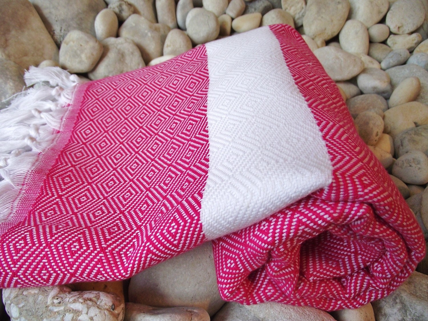 Hand-Woven Turkish Cotton Bath Towel or Sarong-Fuchsia and White