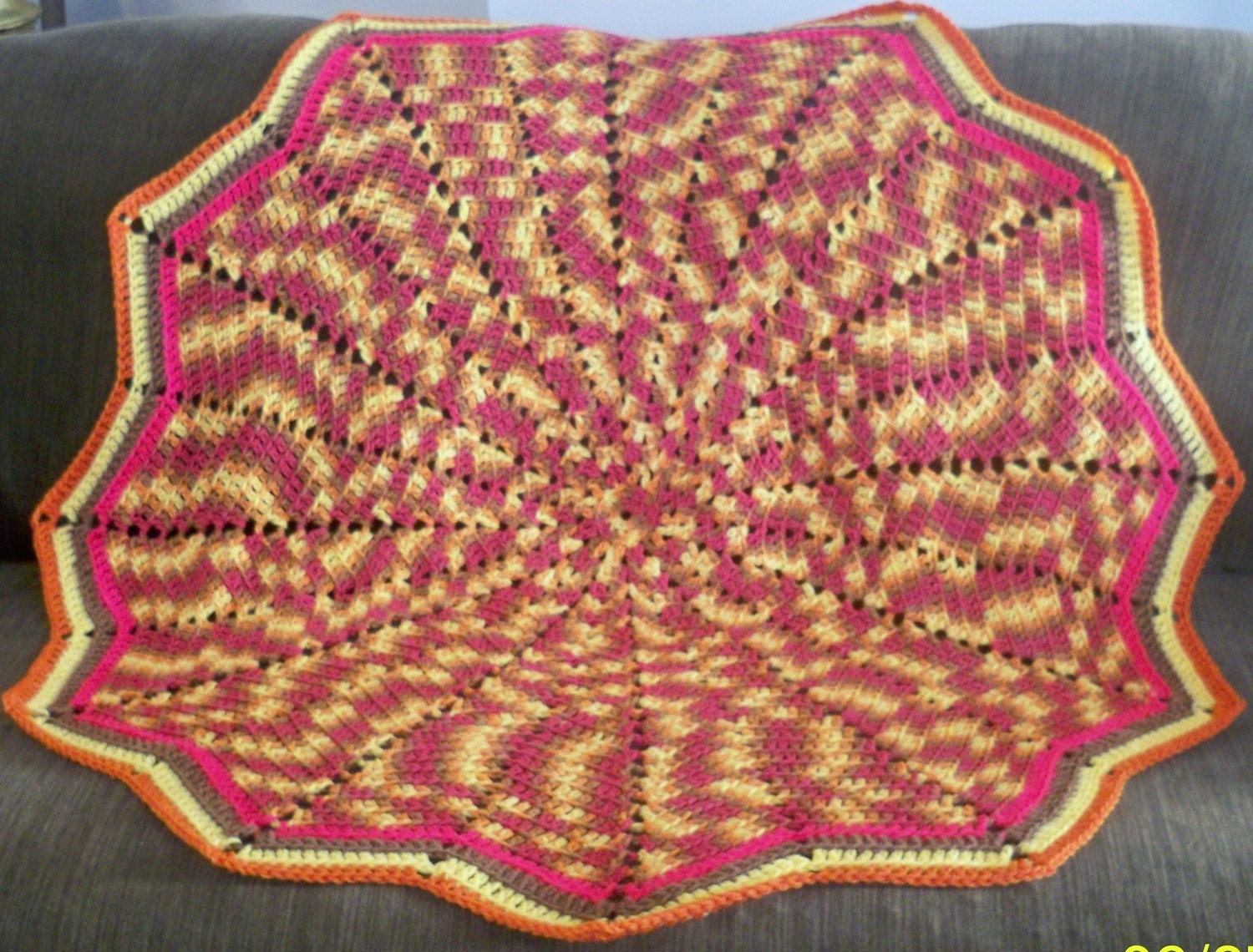 Marrakesh Autumn Leaves Circular Afghan