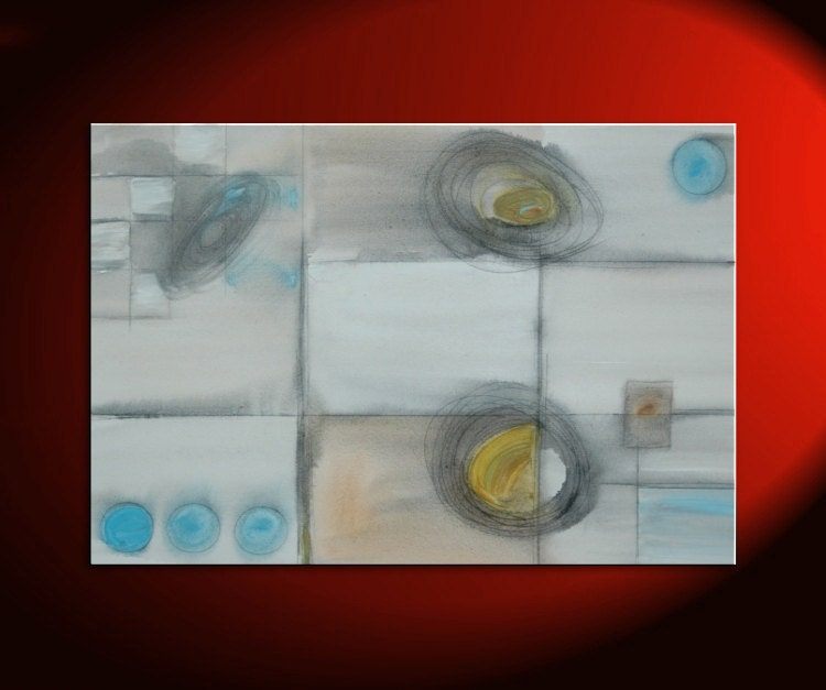 36x24 Custom Abstract Painting Circles and Lines Art on Stretched Canvas Blue Yellow Charcoal