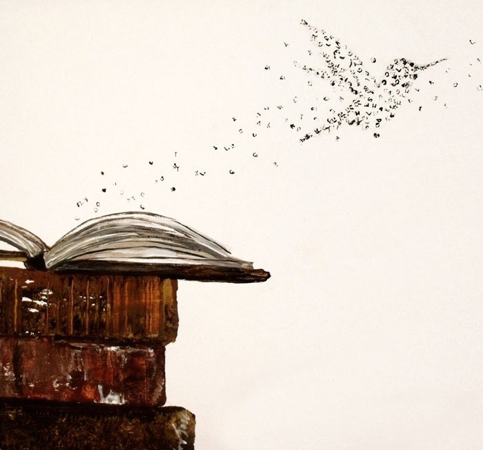 Print of a hummingbird formed of words taking flight from a set of old books
