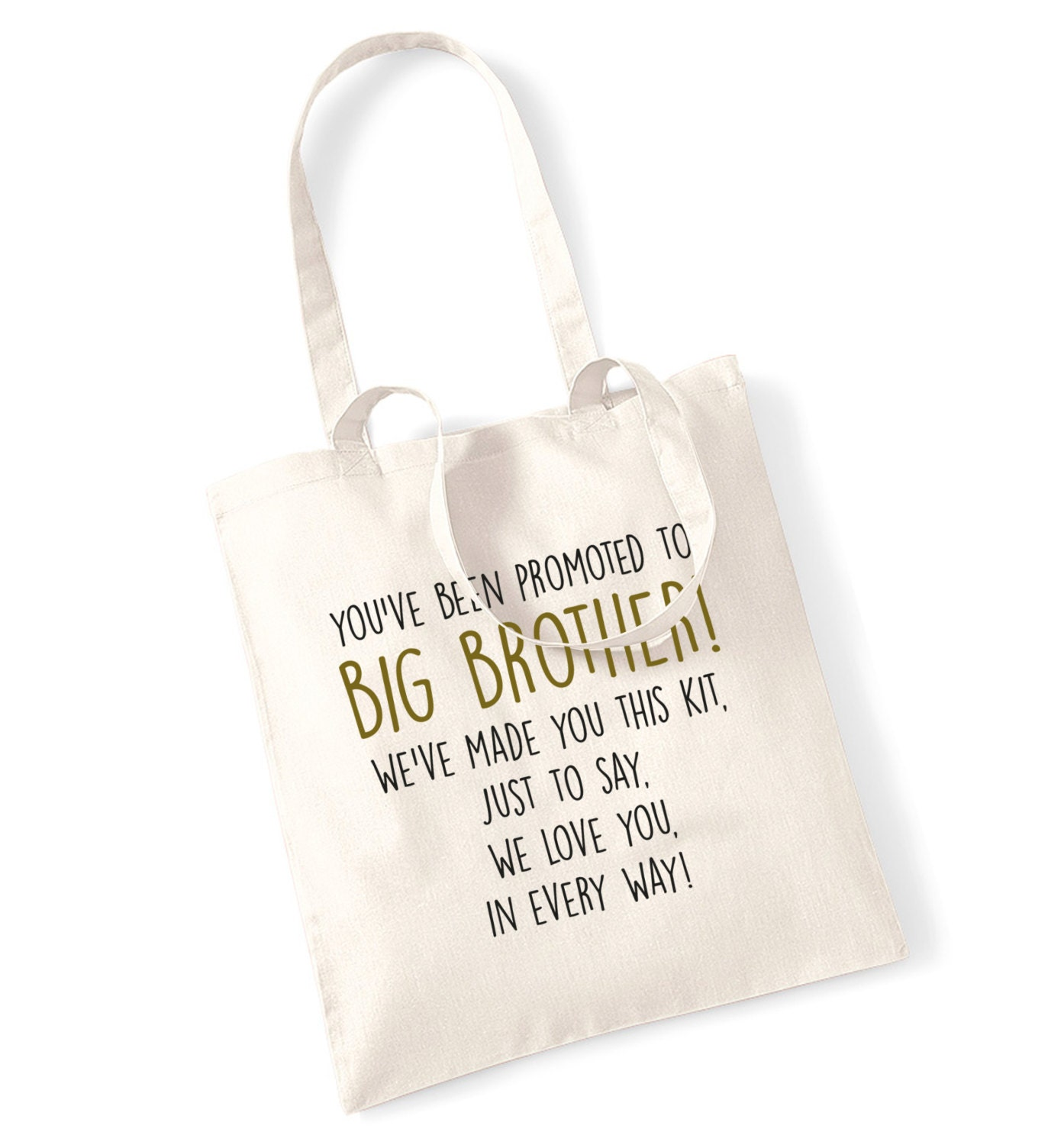 Big brother survival kit tote bag promoted we love you in every way poem newborn sibling sister cute family daughter son mum dad parent 279