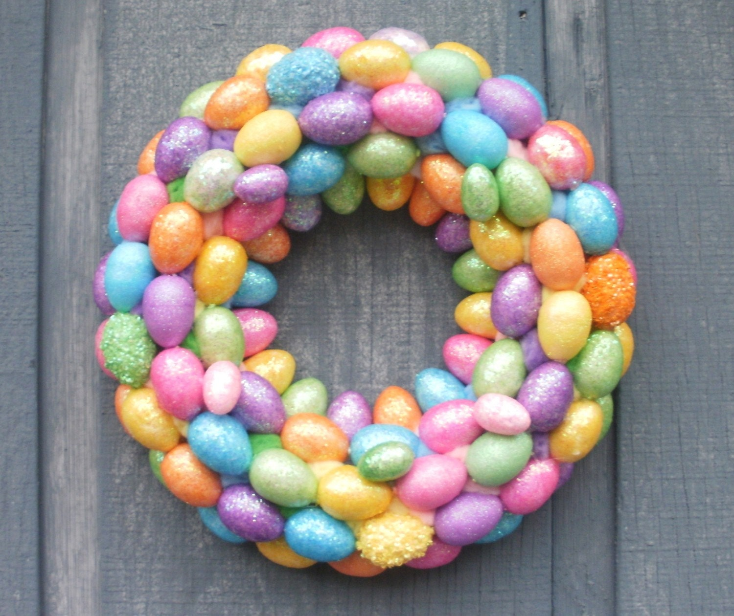 Glitter Easter Egg Wreath Easter Decoration by Silk N Lights