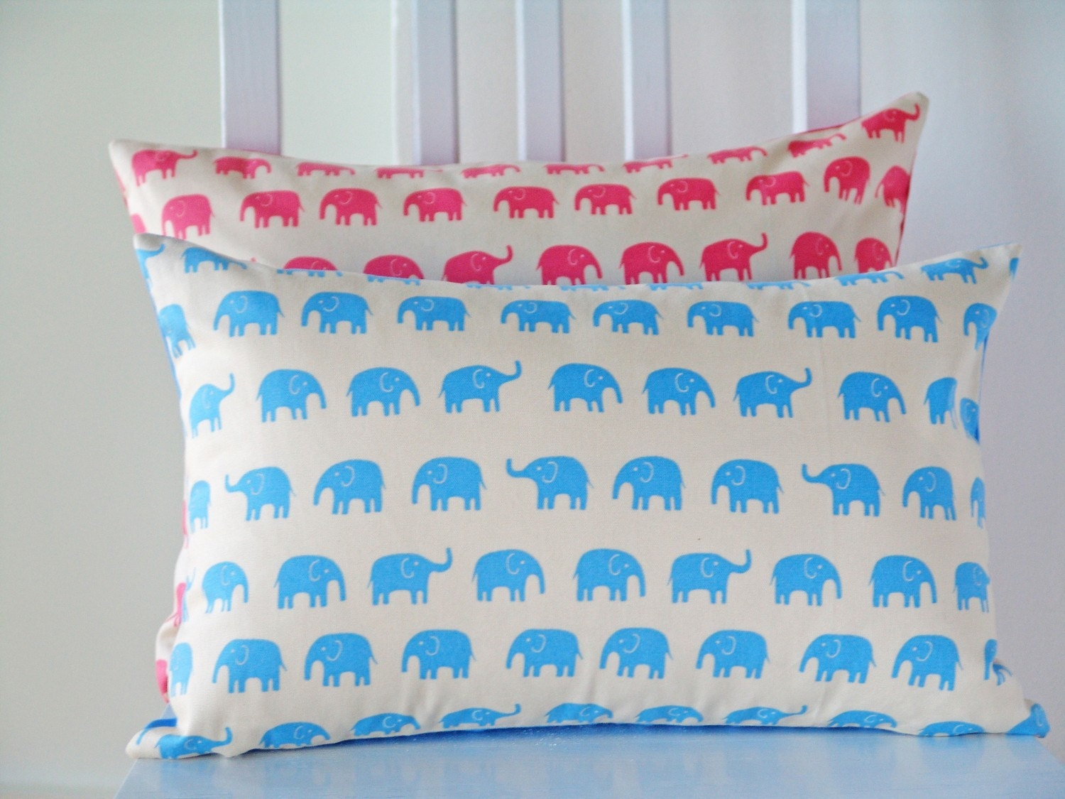 10X16 Blue Elephant Pillow