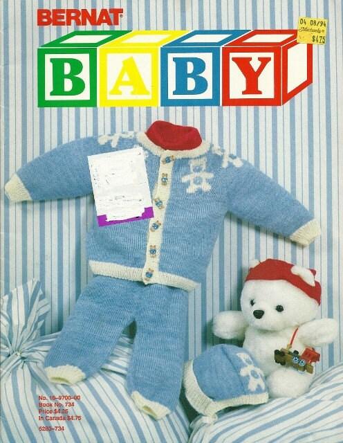 BERNAT BABY KNITTING Pattern Book Sweater Hat by KenyonBooks