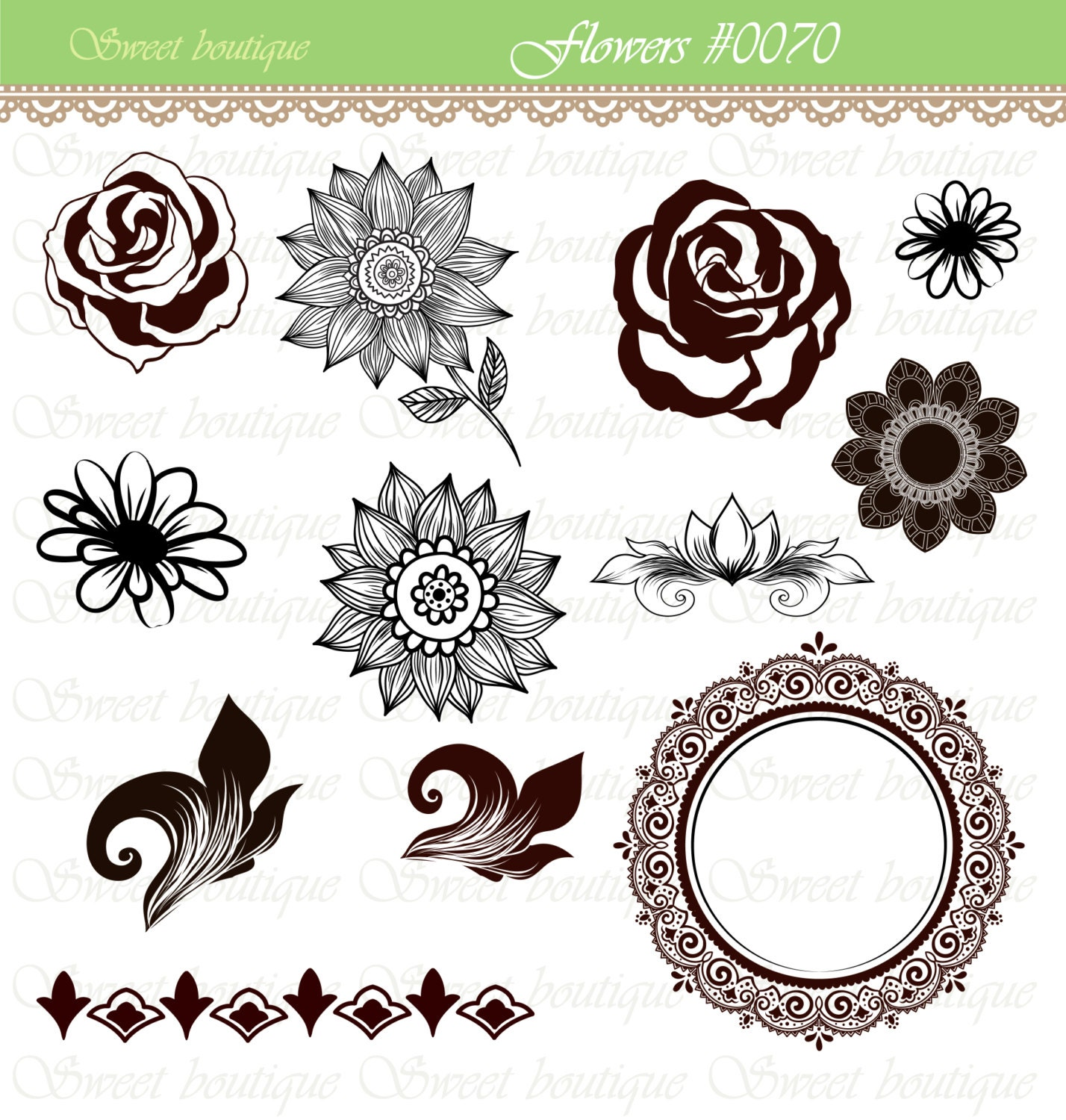 Flowers calligraphy clip art clipart diy by msweetboutique