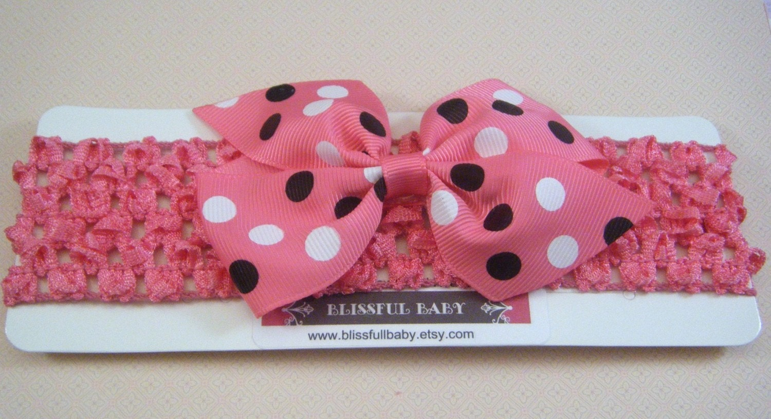 Pink Pinwheel Bow on Pink Crochet Headband