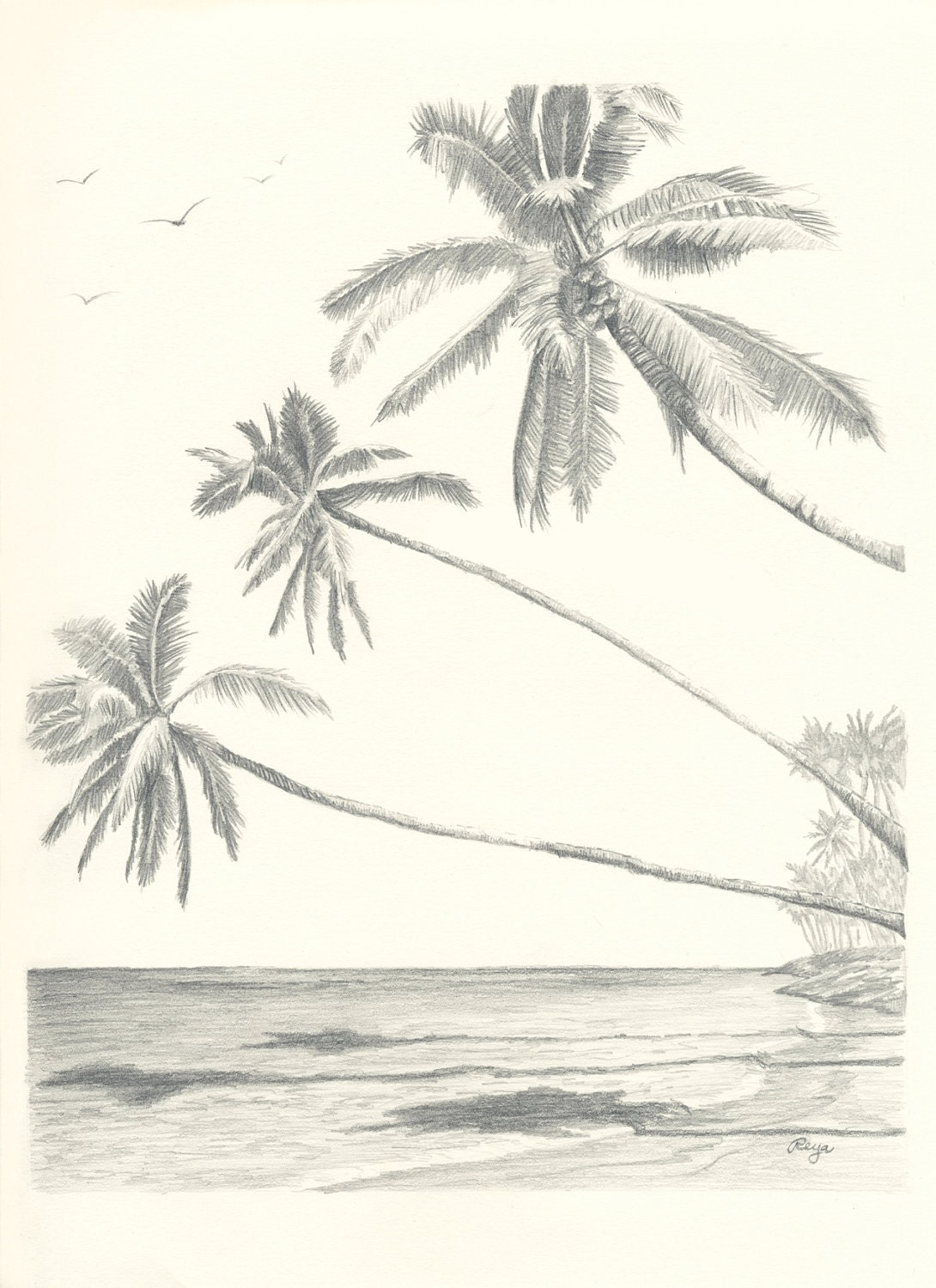 how to draw a beach with palm trees