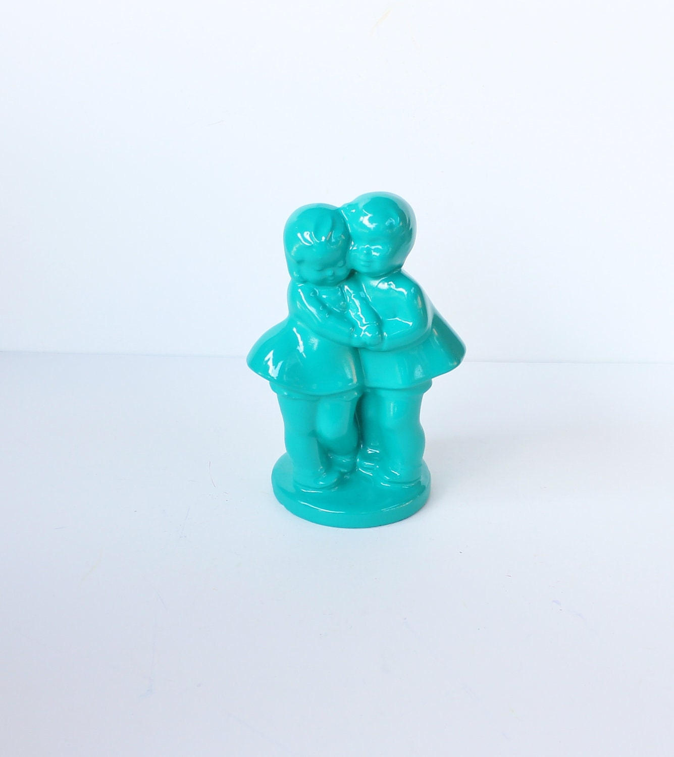Vintage Couple in Love Flower Vase - Jade Green - Upcycled - bluebutterflyvintage