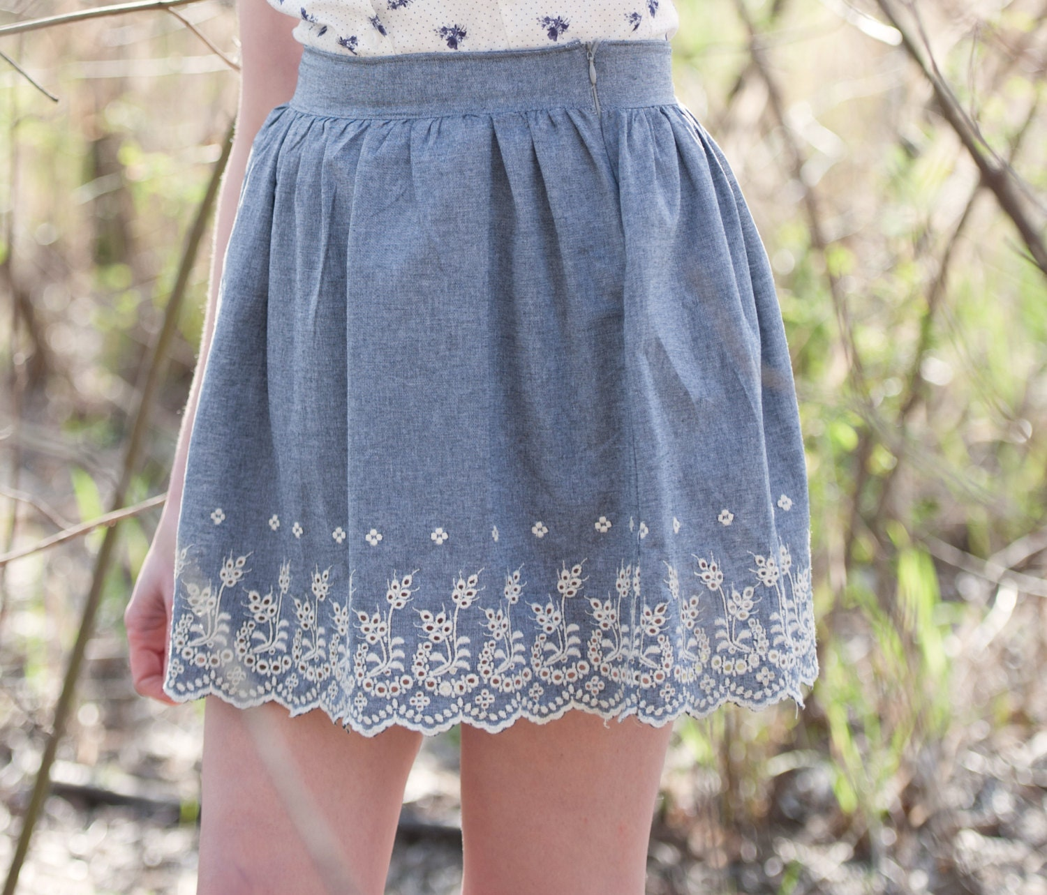 vintage inspired lace skirt denim blue with by