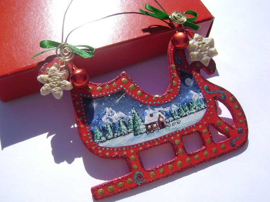 Sleigh Ride - Hand Painted Wooden Christmas Ornament - Red, Green, Glitter, Whimsical, Traditional, Polymer Clay Snowflake Charm,Bows,Bells - VioletHouseCrafts
