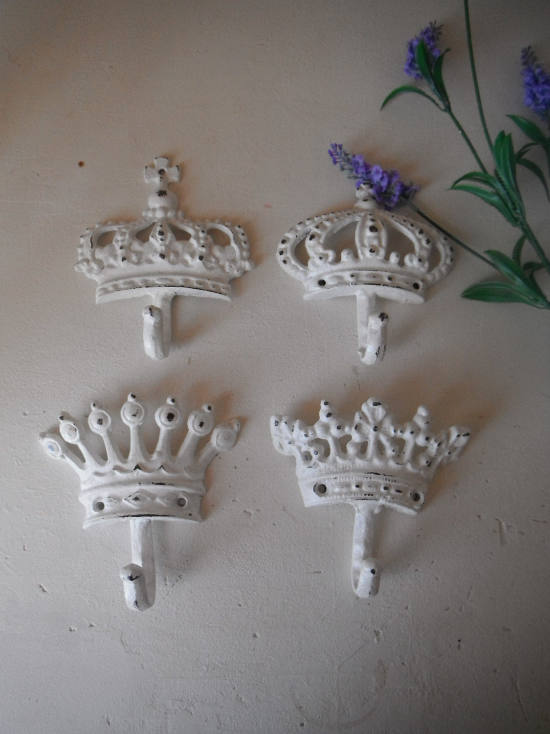 White Wall Hooks Set Of 4 Shabby Chic Hooks Crown By