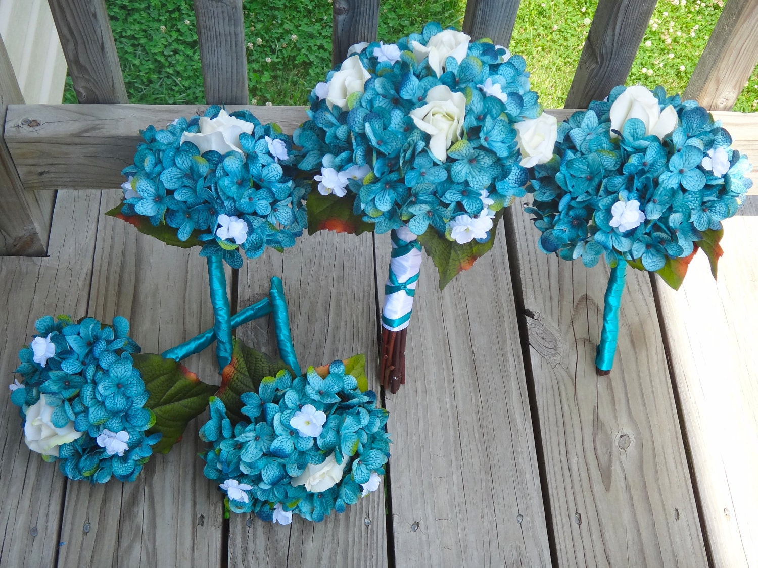 teal wedding bouquets