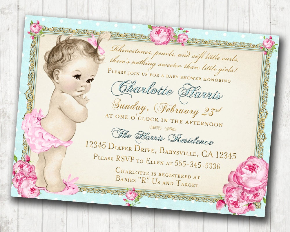 shabby chic floral vintage baby shower invitation for girl roses and