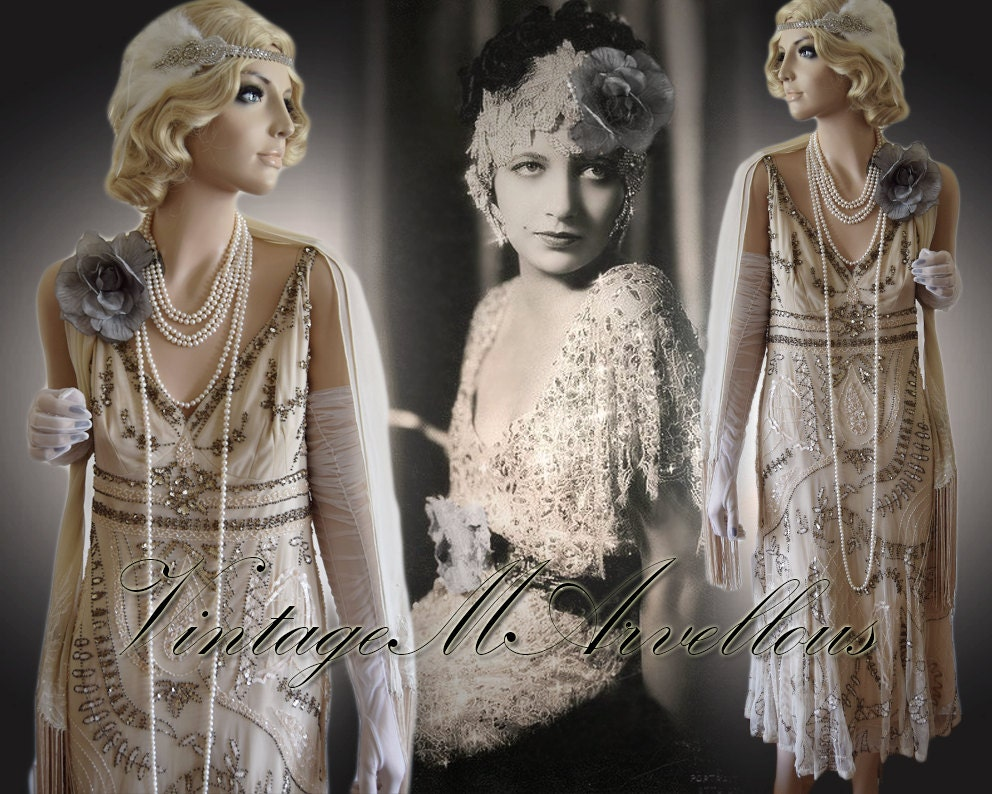 Deco cream beige nude gold Gatsby embellish sequin vintage  embroidered  bride wedding bead flapper 1920s 20s gown dress size UK 16 US 12