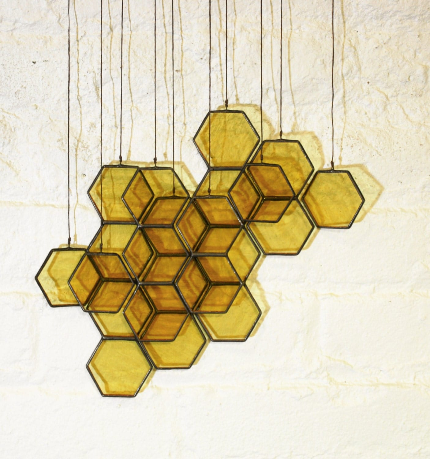 Stained Glass Honeycomb Drops (set of 10) - BespokeGlassTile
