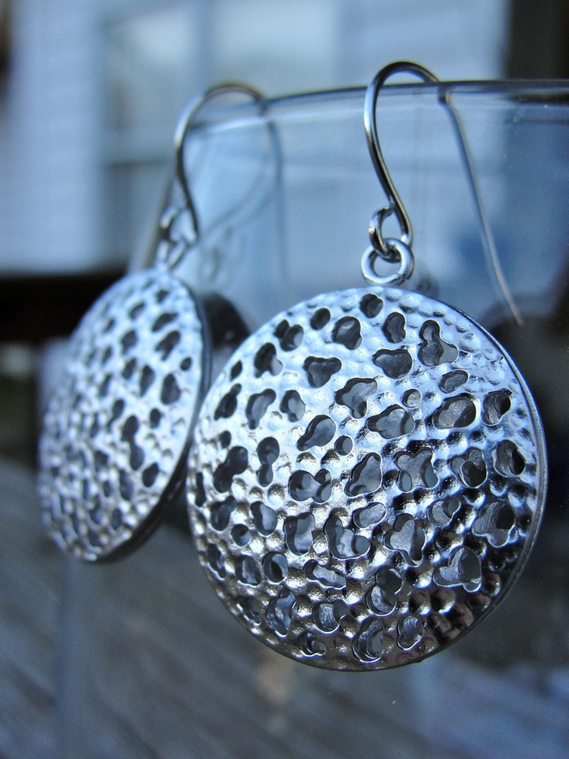 Silver Round Hole Earrings