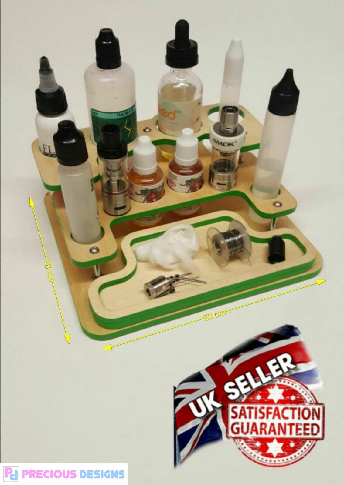 Vape stand tray station e juice modbox tanks holder with magnetic snap tray