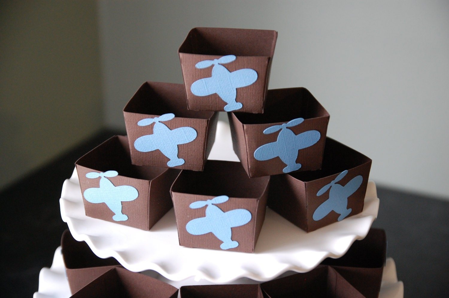 Airplane candy cups airplane party supplies airplane by for Airplane baby shower decoration ideas