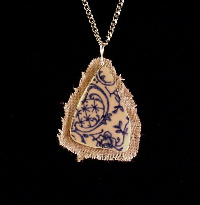 Broken china jewelry shard and linen pendant necklace antique blue toile English transferware