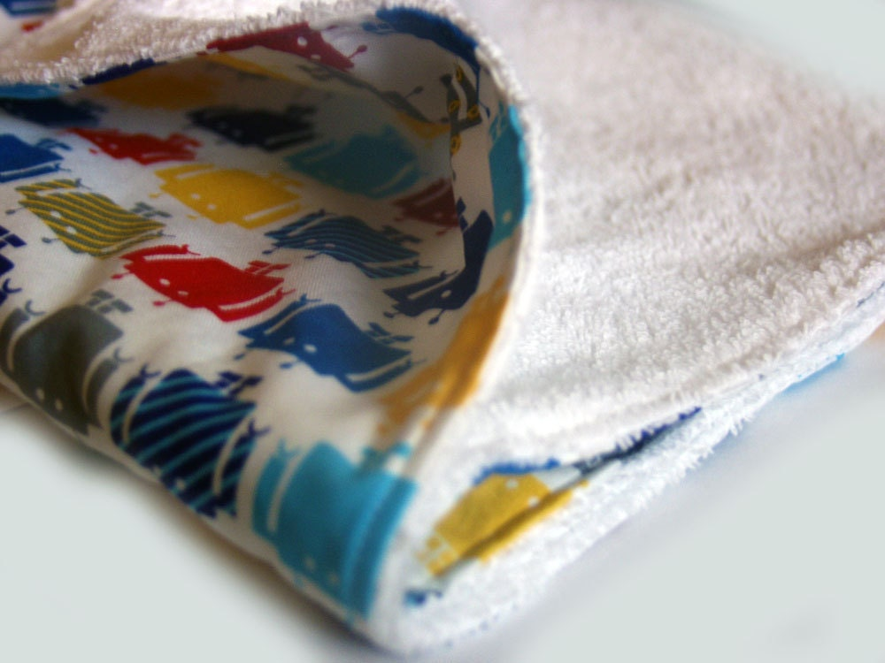 Baby burp cloth large in Robots funbots