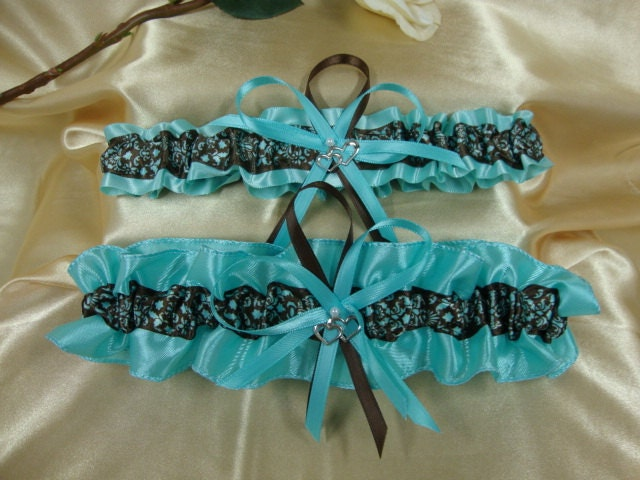 Wedding Garter Set--Aqua with Brown French Block Damask and Double Hearts Charms