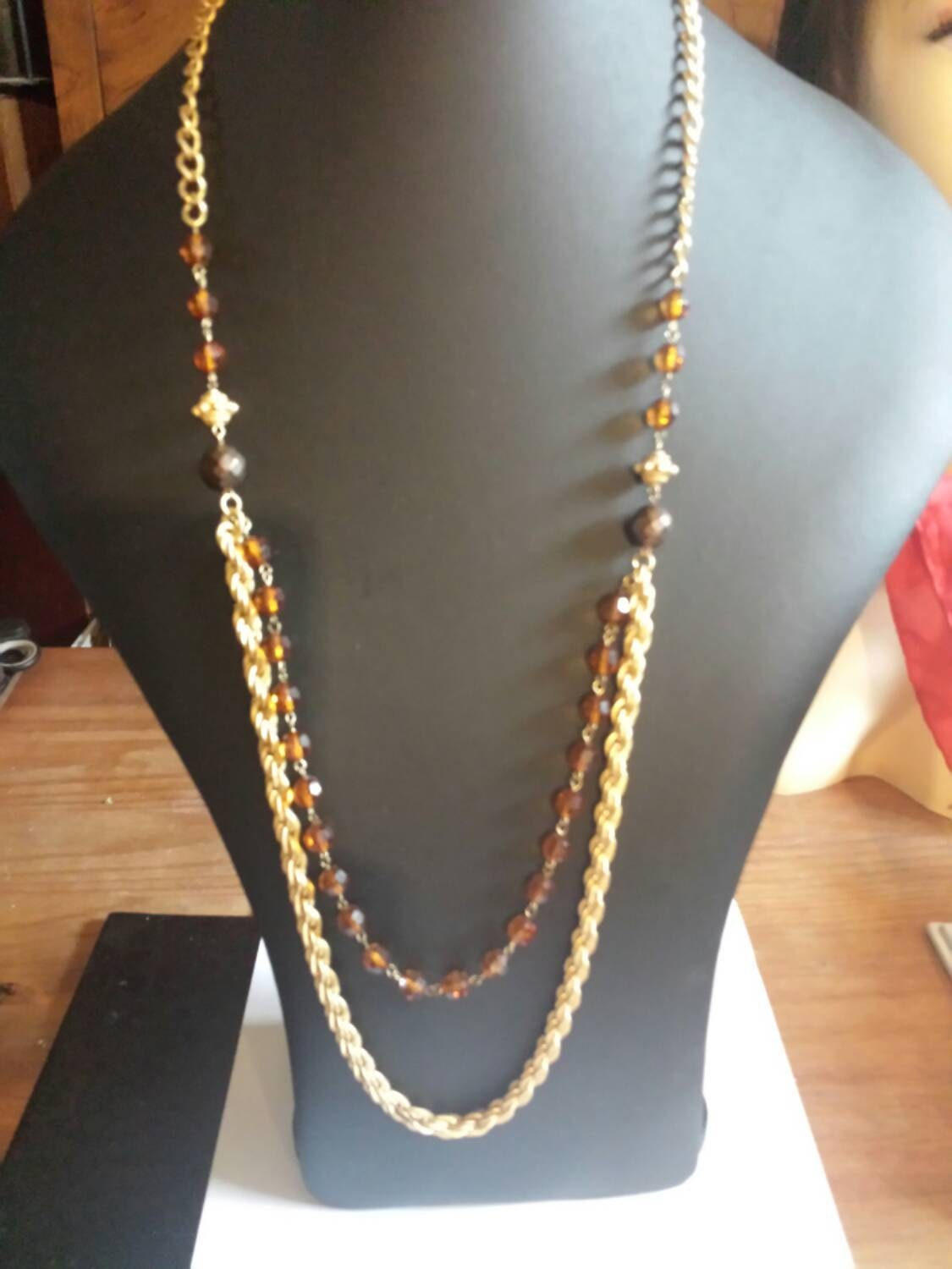 Multi Chain And Bead Necklace Drop Necklace Vintage.rope chain Amber beads 34Inches long