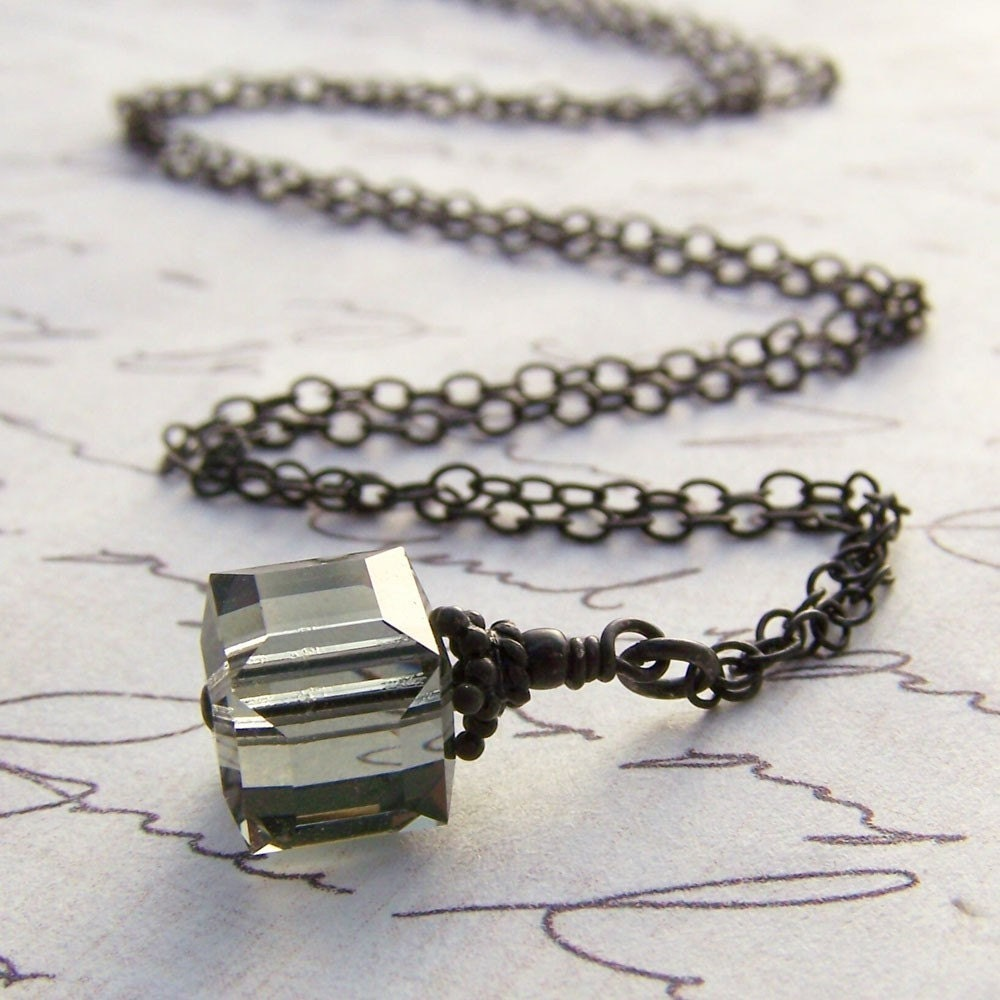 Midnight Necklace. Swarovski Black Diamond Cube and Sterling Silver. Free Shipping Sale