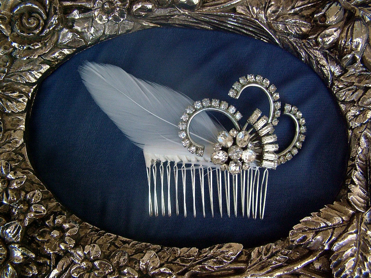 Coco- 1920s vintage rhinestone feather comb FREE SHIPPING WORLDWIDE