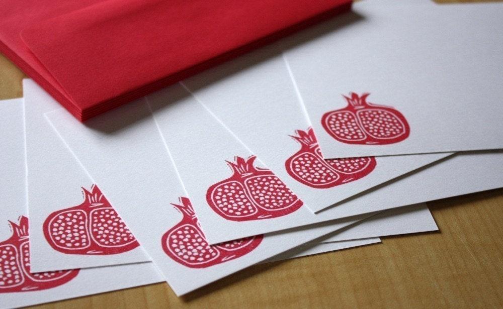 Pomegranate - Flat Note Stationery - Set of 6