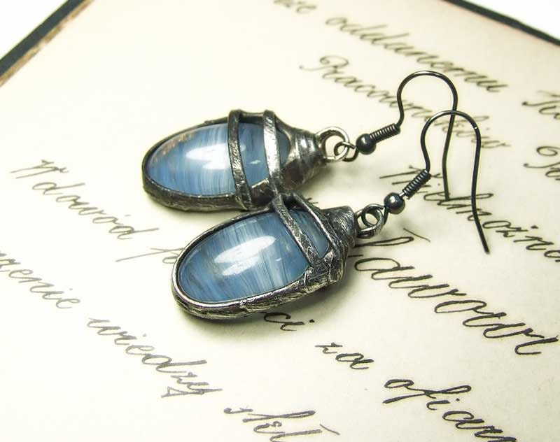 earrings MARIAELA mariaela  tiffany glamourous IDEAL GIFT for her blue glass pretty vintage romantic - MARIAELA