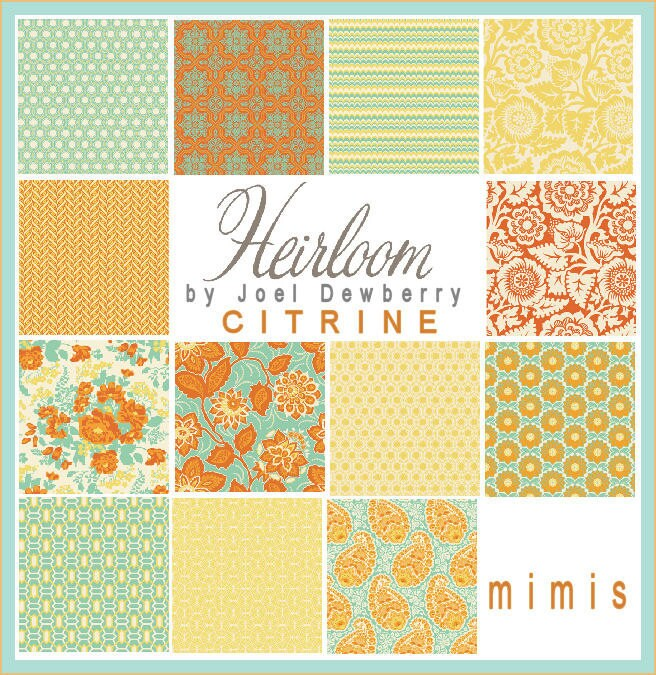 Joel Dewberry Fabric / Heirloom Collection /  CITRINE PALETTE  Fat Quarter Pack Cotton  Quilt  Fabric 13 Total