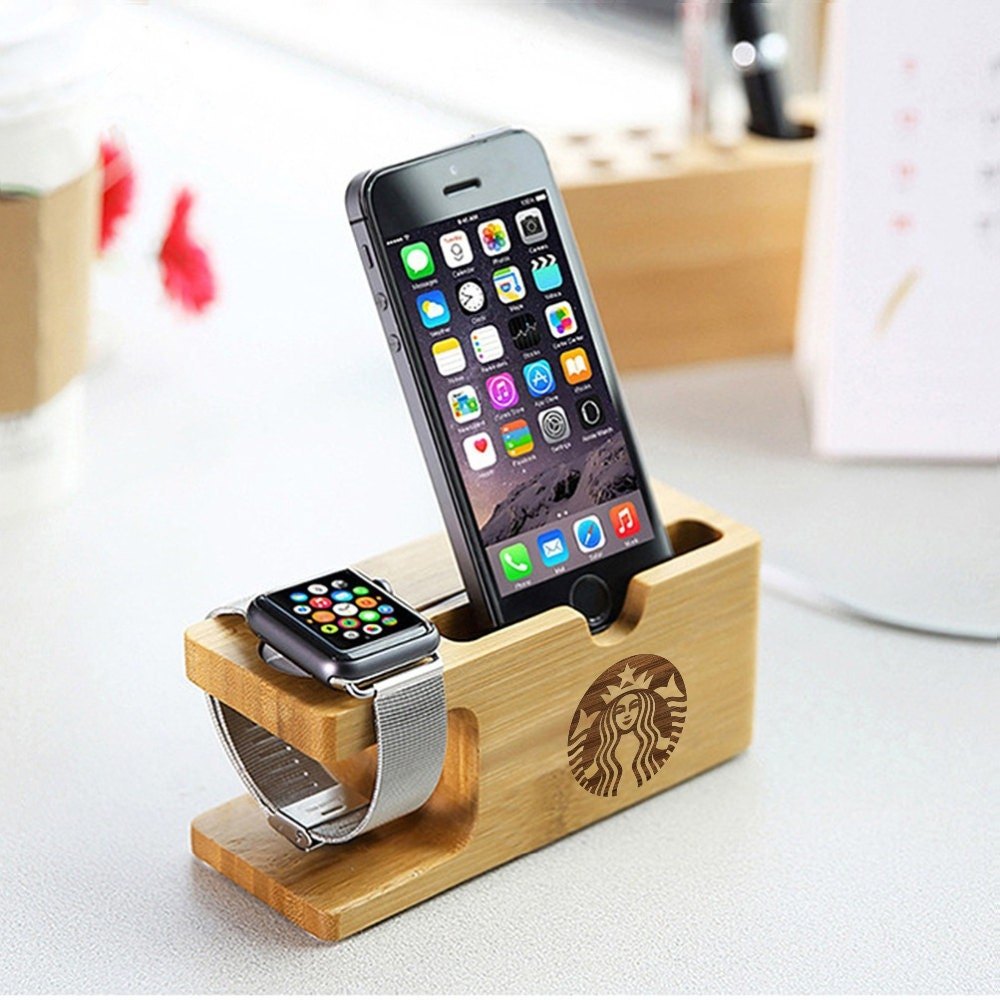 Starbucks Coffee iPhone Dock Apple Watch Organic Wood Docking Station Watch Samsung Galaxy S7 Smartphone Holder Gear Dock Holder Personal
