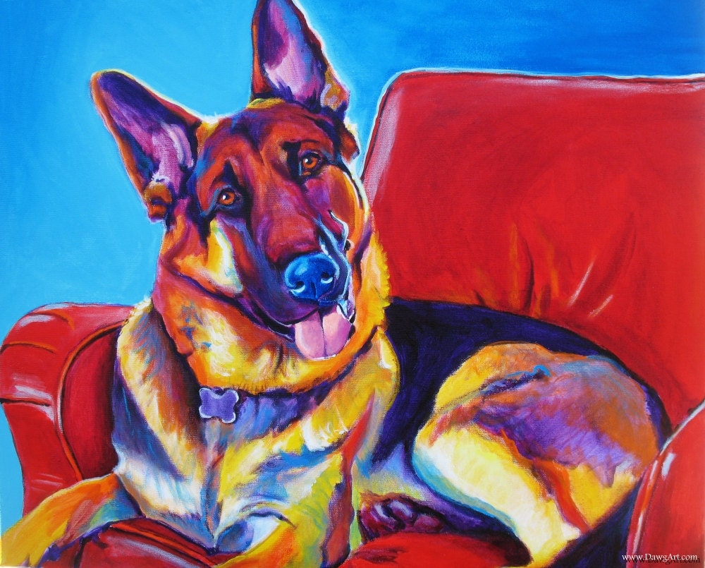 Colorful pet portrait german shepherd dog art print by for Dog painting artist