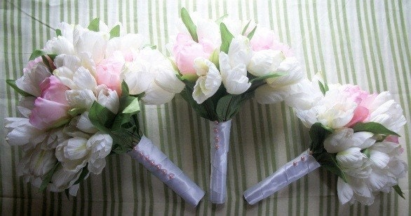6 Pc. Pink Peony and White Tulip Bouquet Set