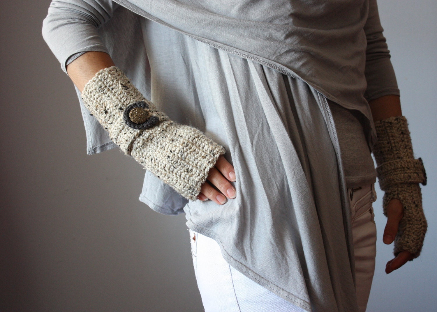 Crochet Fingerless Gloves Mittens Arm Warmers by VitalTemptation