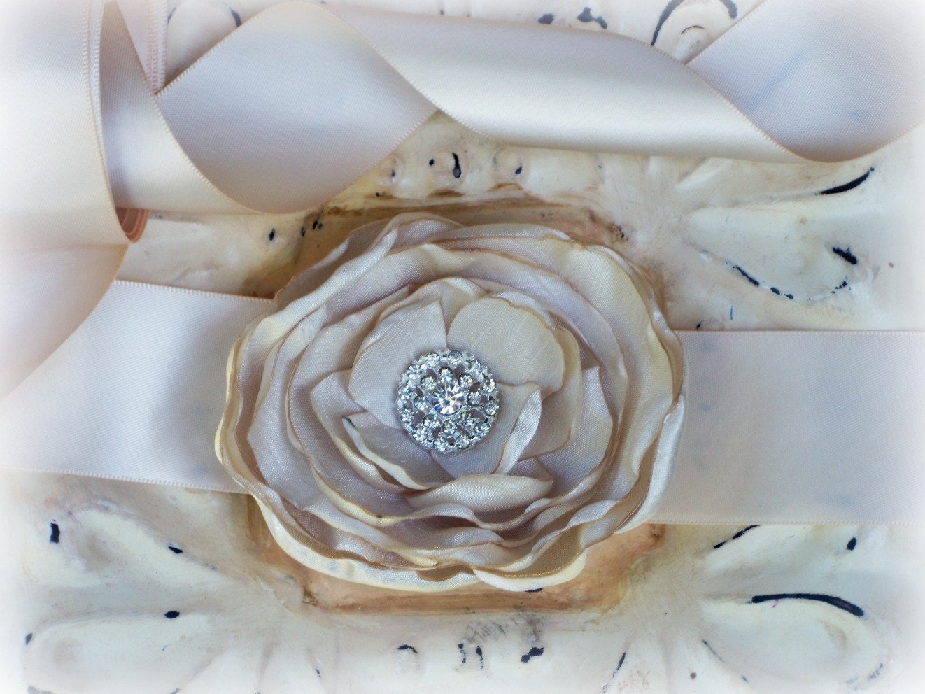 Ecru Shantung Rhinestone Flower and Sash  - Ready to ship