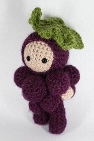 Crochet Pattern- Georgie, an amigurumi grapes boy doll
