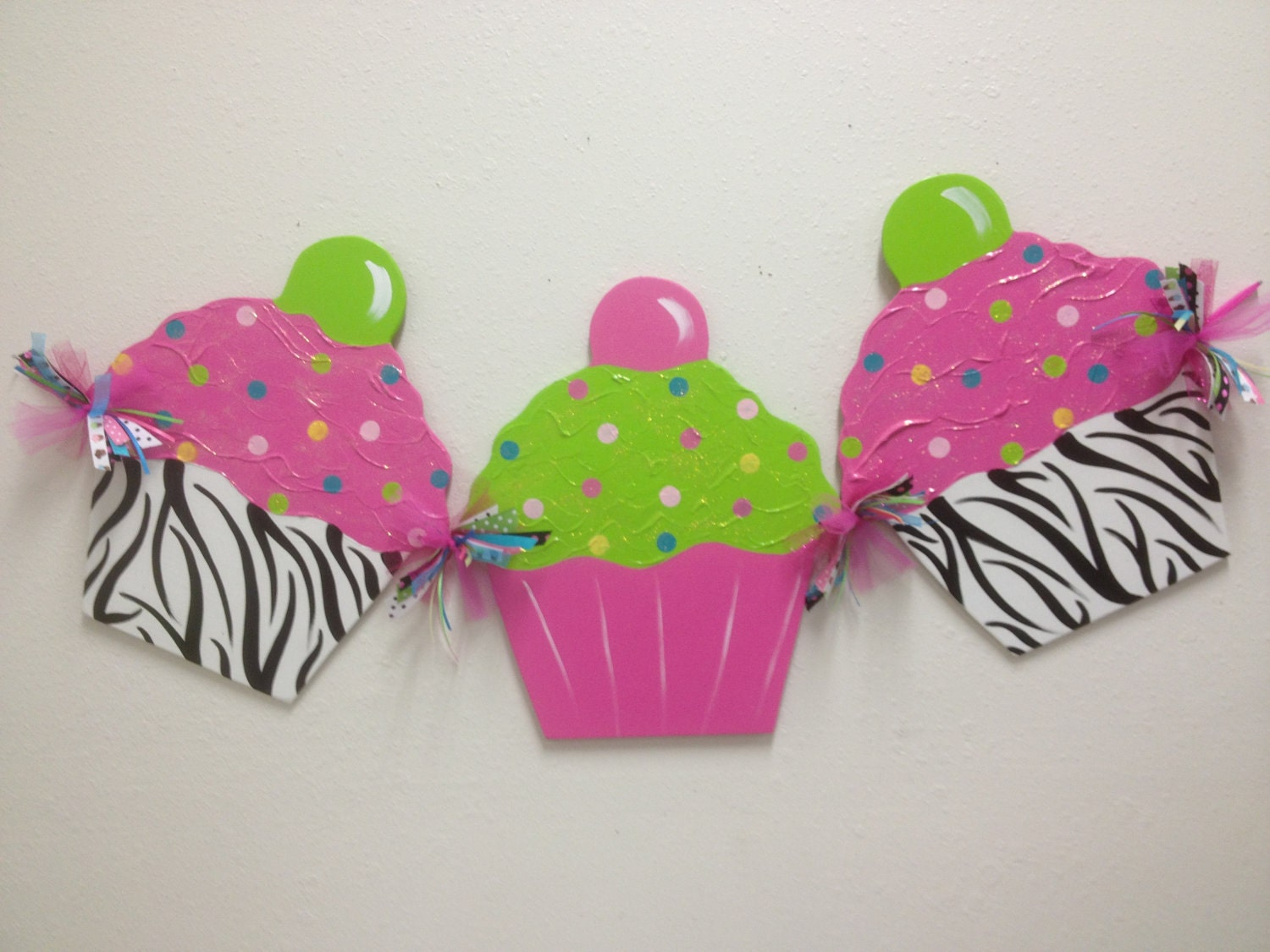 Items similar to cupcake banner handpainted birthday wall for Cupcake wall art
