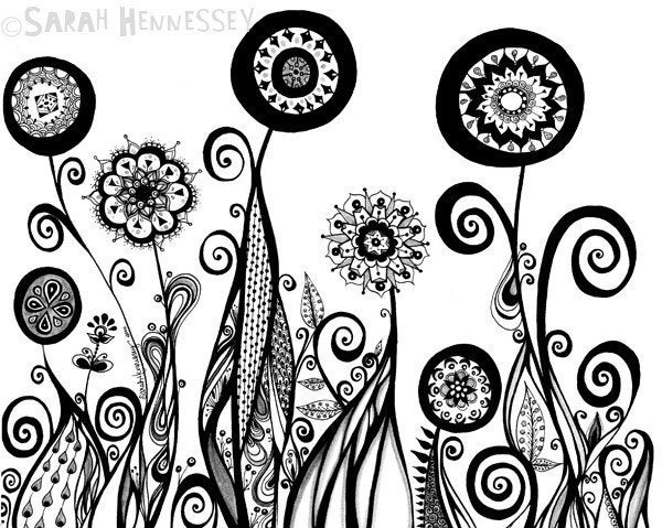 Black  and Gray Abstract Flower Garden 8x10 Print